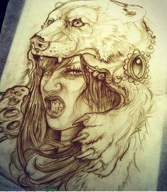 Girl with Bear Headdress Tattoo - Bing Images: Head Tattoos, Body Art Tattoos, Sleeve Tattoos, Cool Tattoos, Tatoos, Graffiti Tattoo, Tattoo Girls, Tattoo Sketches, Tattoo Drawings