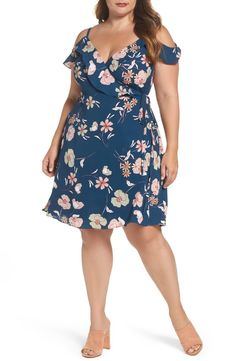Might work, too bad it's polyester - City Chic Lulu Floral Wrap Dress (Plus Size) Plus Size Fashion For Women, Curvy Women Fashion, Plus Size Women, Plus Size Dresses, Plus Size Outfits, Looks Plus Size, Cute Summer Dresses, Wrap Dress Floral, Wrap Dresses