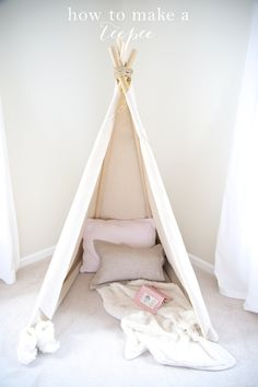 Learn how to make a teepee in less than an hour! A quick & easy no sew teepee tutorial.