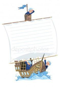 Estandarte con barco y marineros felices — Ilustración de stock Banner, Ship, Illustration, Happy, Sailing Ships, Boats, Sailor Cap, Wooden Sailboat, Nail Forms