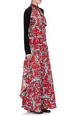 J.W.Anderson Ruffled Brocade-Print Silk Long Skirt - Skirts - 505346275