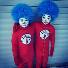 Thing 1 and Thing 2 costumes and face painting ideas. Mittens custom made by wewearcrochet.etsy.com