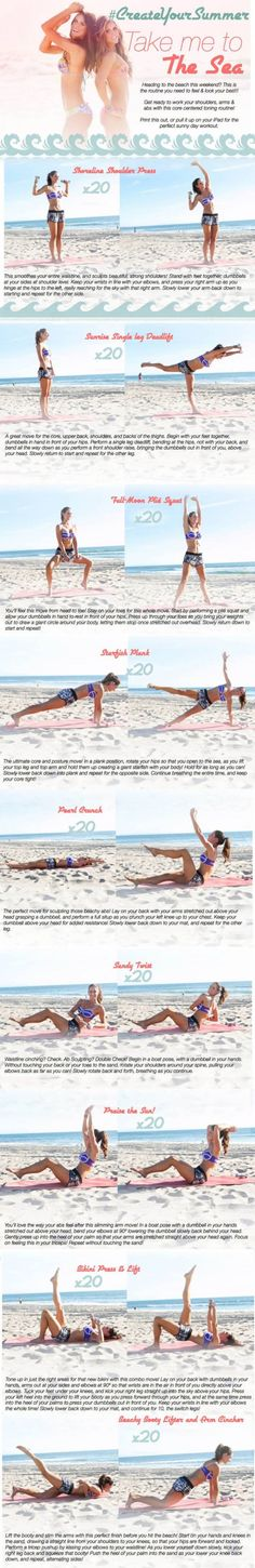 Take me to the sea bikini series tone it up workout Toning Workouts, Easy Workouts, At Home Workouts, Exercises, Up Fitness, Fitness Nutrition, Zumba, Total Body Toning, Arms And Abs