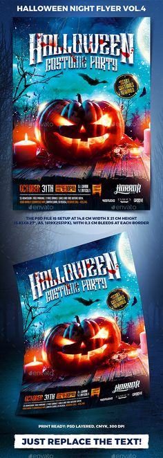 Halloween Night Party Flyer vol.4  — PSD Template #monster #festival • Download ➝ https://graphicriver.net/item/halloween-night-party-flyer-vol4/18124483?ref=pxcr
