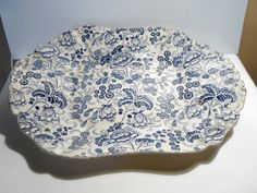 Antique Faience Pottery Dish Blue and White by by LaCassoulere, €115.00