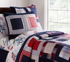 America Patchwork Quilted Bedding #PotteryBarnKids. For the boys' new bunk beds. I will have this quilt, whether I make it myself or buy it!