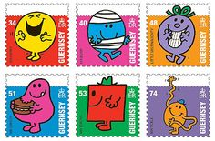 """Mr Men and Little Miss Stamps. In May 2008, Guernsey issued six stamps honoring the characters in the """"Mr Men and Little Miss"""" children's books and television series."""