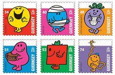 "Série de six timbres-poste ""Mr Men and Little Miss"", Guernesey, 2008 © DR."