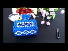 How to bead tissue box: navy blue color tissue box 2/2 - YouTube