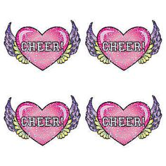 This Cheer Heart Wings Glitter Temporary Tattoo features a pink CHEER heart with purple and yellow feathered wings surrounded by glitter.