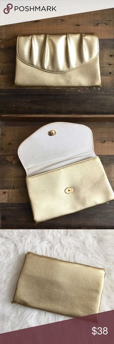 '60s / Gold Evening Clutch Metallic gold clutch circa 1960s. Excellent vintage condition!  MEASUREMENTS: Actual bag: roughly 9.5 x 6 inches  ☒ I do not model or trade, sorry! ❁ Check out my closet for more vintage! Vintage Bags Clutches & Wristlets