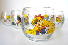 Vintage Sailormoon 4 small glass by HUISHANOldTime on Etsy, NT$620.00