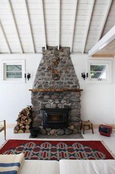 floor to ceiling stone fireplace + wood mantle + Scandinavian design http://thayermanor.wordpress.com/
