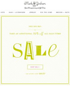 mark & graham email marketing design - sale email, simple type