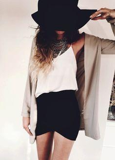 OUTFIT IDEAS — parisfashionn:   Hat» Top» Skirt» Necklaces»