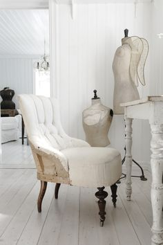 Chair from VintageByNina, limed/painted floors, mannequins
