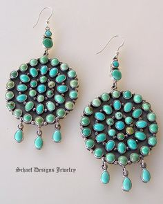 Carico Lake Multi Turquoise Circle Dangle Earrings | Schaef Designs Southwestern Turquoise Jewelry |New Mexico