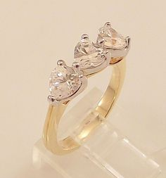 Ladies Russian Formula Sweetheart CZ Gold Overlay Ring -Size 5-Free Gift Box