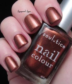 Nairobi... a brilliant bronze looks striking on Lacquered Lover!    http://www.lacqueredlover.com/2012/05/soulstice-spa-nail-colour-in-nairobi.html