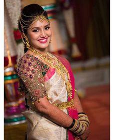 South Indian bride. Diamond Indian bridal jewelry.Temple jewelry. Jhumkis.Cream silk kanchipuram sari with contrast pink embroidered blouse.Braid with fresh jasmine flowers. Tamil bride. Telugu bride. Kannada bride. Hindu bride. Malayalee bride.Kerala bride.South Indian wedding. Pinterest: @deepa8