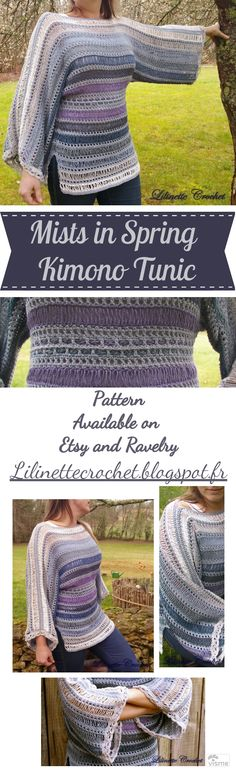 A classic lacy kimono tunic featuring the shyness of new life in spring. It is an easy to customize garment, very flattering for all shapes. Includes #videotutorial and #phototutorial. #crochet #kimono #crochetpattern #pattern #tunic #spring #sweater #top