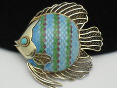 Circa 1920's Chinese Export Silver Cloisonne Enamel Filigree Fish Brooch