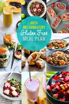 Food plays an key role in reducing inflammation in the body, so here's a grain free, anti-inflammatory gluten-free meal plan. It's full of recipes that are not only delicious, but also include foods that are known for their anti-inflammatory properties. | CotterCrunch.com