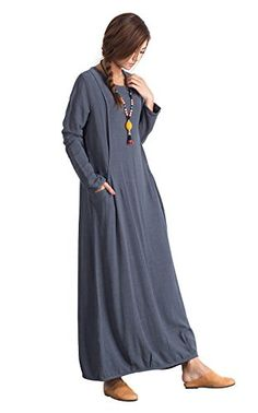 e53523a79d5a XBtoblue Womens Gray Long Sleeve Linen Casual Loose Comfort Spring Autumn  Winter Large Size Cotton Clothing     Click for more Special Deals ...