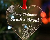 Personalised Christmas Tree Decoration Merry Christmas Heart Bauble