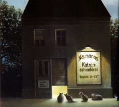 "Michael Sowa - ""Naumanns Katzen-schinderei"" or ""Naumanns knacker's yard for cats"" Michael Sowa, Nocturne, Illustrations, Illustration Art, Illustration Children, Es Der Clown, Surreal Art, Gravure, Anime Comics"