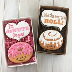 """Here's a preview of the premise for most of my #ValentinesDay cookie cutter options. The cookies cutters are sized appropriately to fit in a single 4""""x4"""" box, or as a pair in a 7""""x4.5"""" box (as shown). Choose between a speech bubble or a chunky heart to create a pun & fun message! The shop should be in stock early next week with these Valentine's Day options. #cinnamonrolls #donuts #royalicing #customcookies #cookiedecorating #valentinegift"""