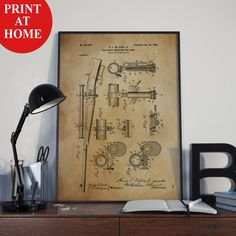 Rifle Telescope Patent Art Print-Gun Poster-Patent Prints-Patent Poster-Printable Wall Art-Man Cave Decor-Boyfriend Gift-Husband Gift To Men
