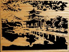 Etsy の Scroll Saw Woodwork Japanese Scenary by DorvalDesigns