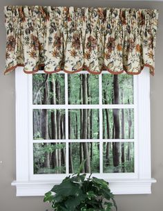 Felicite Scalloped Valance by Waverly. Multi Color Jacobean pattern of creme or black background, fabric is Cotton, for proper fullness use 2 to 3 times your window with in fabric. Rustic Kitchen Design, Shabby Chic Kitchen, French Country Kitchens, French Country Style, Waverly Curtains, Primitive Kitchen Cabinets, Country Valances, Fruit And Vegetable Storage, Waterfall Valance