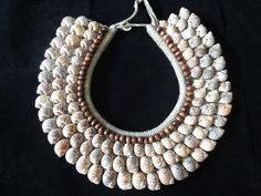 Sea Shell Nautical Necklace Brown Beads Adorn Papua by ubudexotica