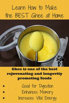 When you know how to make ghee at home you'll save money, and benefit from one of the best rejuvenating and longevity-promoting foods. Holistic Nutrition, Proper Nutrition, Healthy Nutrition, Healthy Habits, Nutrition Tips, Health Tips, Ayurveda, Ayurvedic Healing, Eating Clean