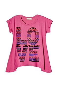 MADE IN USA - Big Girls Kids Colors Love Graphic Tee T Shirt Top USA GT…