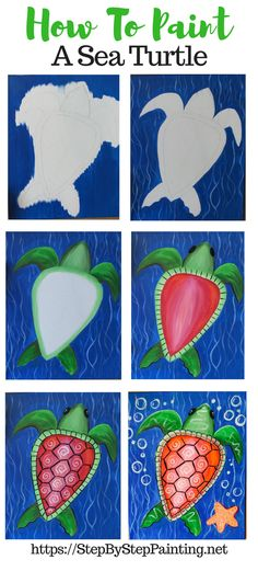 How To Paint A Sea Turtle - Step By Step Painting by Tracie Kiernan. Full tutorial with a video! FREE! Perfect for the beginner acrylic painter, DIY paint night.