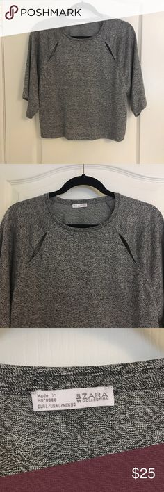 Zara Grey Top Gently used, slit detail at the top. Shirt is on the shorter size. No trades feel free to ask questions! :) Zara Tops