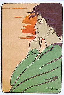 """Art Nouveau (-stijl) Vrouw ~van Marc-Henry Meunier """"L'heure du silence""""-1897~"""