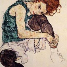 Donna seduta con ginocchio piegato - Egon Schiele  Poesia ispirata al quadro