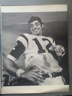 """Joe Namath NY Jets 1969.  """"Broadway Joe"""" after game flashing his grin.  Super Bowl Winner.  v-Baltimore Colts.  BW Pic.  Ready for Framing. by bluemtcreative2 on Etsy"""
