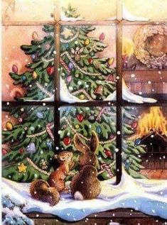 A Christmas Peep Magical Christmas, Christmas Mood, Merry Little Christmas, Vintage Christmas Cards, Vintage Holiday, Christmas Pictures, All Things Christmas, Christmas Windows, Christmas Events