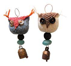 beaded owl ornaments :: noah bells