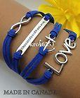 Womens Bracelet Infinity Love Anchor WTAW Blue Velvet Silver Charm K854sbu