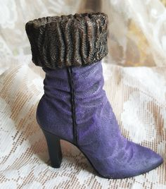 Vintage shoe boot royal purple cute cuff high heel 1990's medium miniature shoe collector by its4sale2day on Etsy