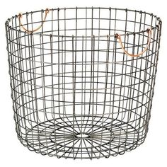 Extra Large Round Wire Decorative Storage Bin - Antique Pewter with Copper Handle - Threshold™ : Target