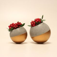 Pallina Gold  Set of Two Concrete Flowerpots by woodmess on Etsy
