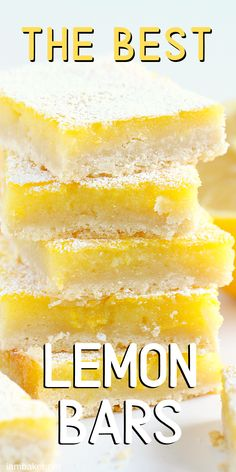 Homemade Lemon Bars Recipe- easy to make and delicious! Enjoy this refreshing lemon bars recipe that's prefect for dessert or a fun treat! Pudding Desserts, Köstliche Desserts, Delicious Desserts, Small Desserts, Sugar Free Desserts, Lemon Dessert Recipes, Lemon Recipes, Recipe For Lemon Bars, Desserts With Lemon