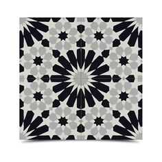 Pack of 12 Agdal Grey and Black Handmade Cement and Granite 8-inch Floor and Wall Tile (Morocco)